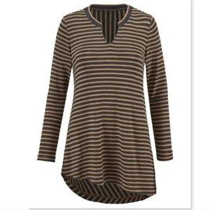 CAbi Slant Tee striped tunic top